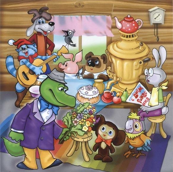 Детям, персонажи мультфильмов в открытках